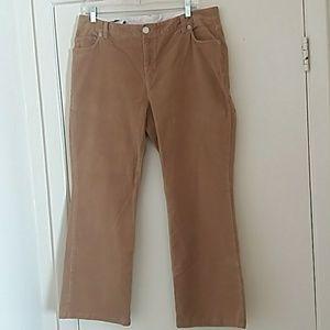 Lands End Women Corduroy Pants Brown Color Size 14